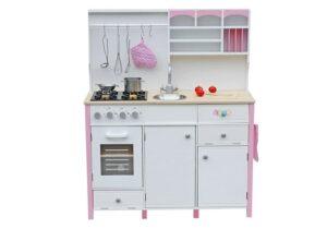 Mänguköök puidust, valge-roosa