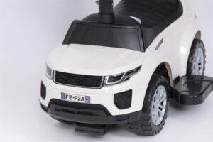 Pealeistutav laste tõukeauto Land Rover Valge abivahenditega