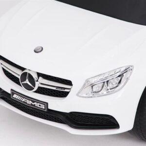 Pealeistutav laste tõukeauto Mercedes Valge abivahenditega