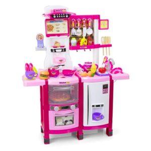 Plastikust roosa laste mänguköök, koos tarvikutega