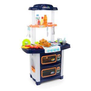 Plastikust sinine laste mänguköök, tarvikutega