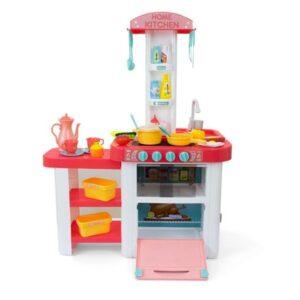 Nurgaga roosa mänguköök, koos tarvikutega