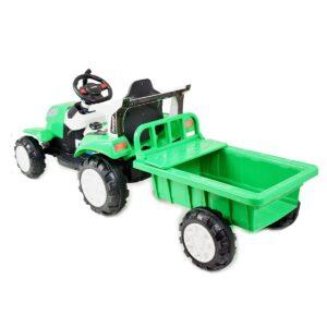 Laste traktor roheline treileriga