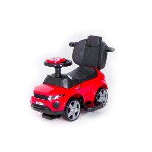 Pealeistutav laste tõukeauto Land Rover Punane abivahenditega, kummist rehvid