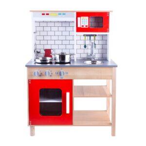 Mänguköök puidust, punane ja metallist küpsetusvahenditega