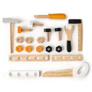 Puidust suur tööriistapink koos 32 tarvikuga