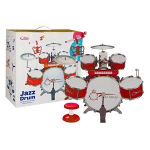 Punane trummikomplekt klaveri ja mikrofoniga