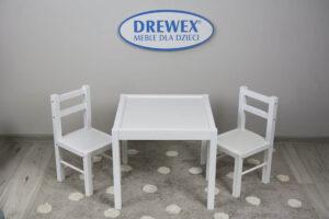 Lastetoa laud + 2 tooli, valge